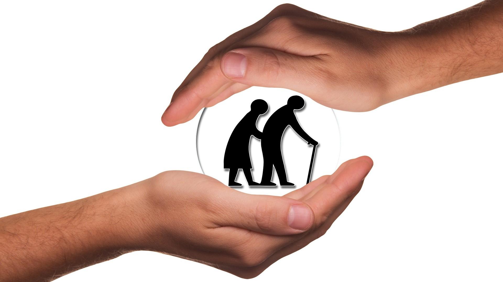 Grafika dekoracyjna dwoje starszych osób w osłonie z dwóch dłoni